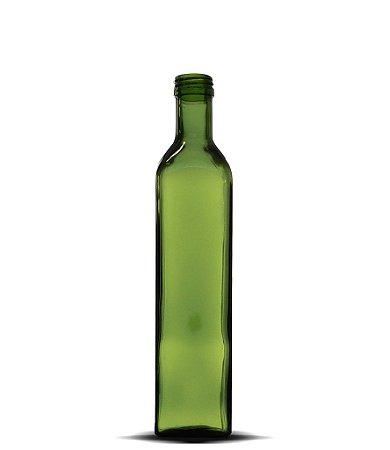 Garrafa Verde Azeite Quadrado Grande 500ml   24 Unidades   Sem Tampa