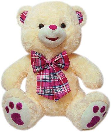Urso Gigante Creme com Coração Pink