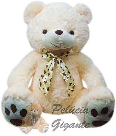 Urso de laço creme 65cm