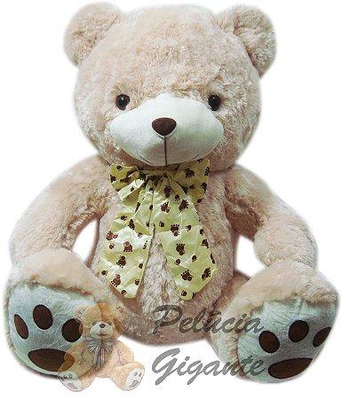 Urso de laço marrom claro 65cm