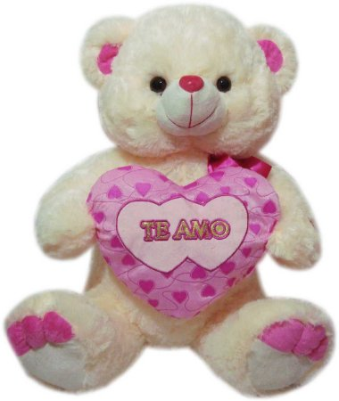 Urso charmoso com coração rosa