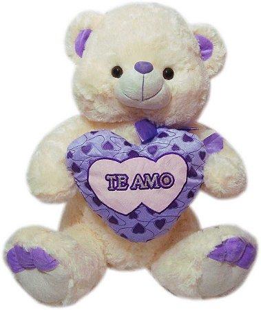 Urso Charmoso com Coração Lilás