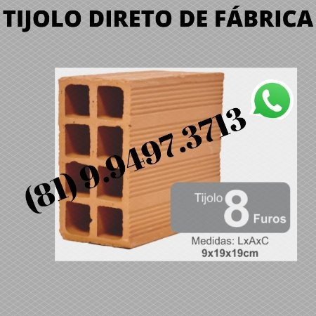 Tijolo 8 furos direto de Fábrica Olaria Porto de Galinhas