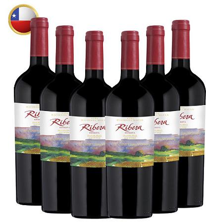 Kit Com 6 Ribera Reserva Cabernet Sauvignon 2018 Vinho Chileno