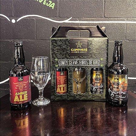 Kit de Cerveja Artesanal com 1 American Amber Ale 500ml + 1 English Oatmeal Stout - 500ml + 1 Taça de Cerveja