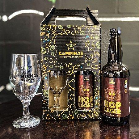 Kit de Cerveja Artesanal com 1 American HOP Lager 500ml + 1 Taça de Cerveja