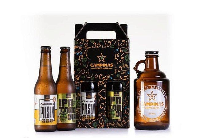KIT de Cerveja Artesanal com Growler de 1 Litro + Pilsen + IPA Todo Dia 355ml