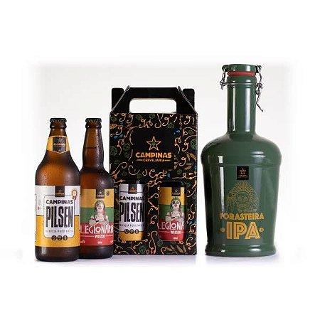 KIT de Cerveja Artesanal com Growler de Cerâmica 2 Litros + Pilsen 600ml + Weizen 500ml