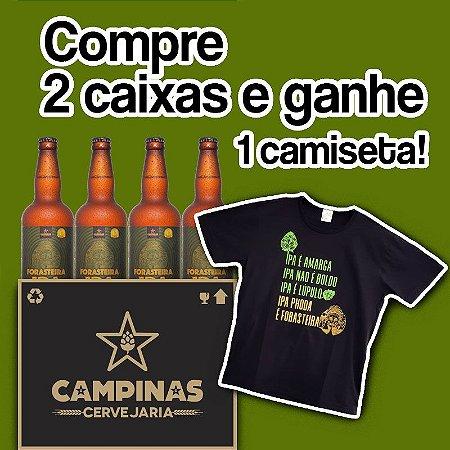 2 Caixas Fechadas com 24 unid. da CAMPINAS Forasteira American IPA 500ml - Ganhe Uma Camiseta!