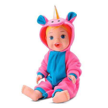 Boneca Bebê Com Pijama De Unicórnio Faz Xixi Divertoys