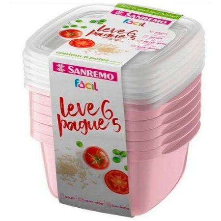 Conjunto De Potes Sanremo 800ml Leve 6 Pague 5 Rosa
