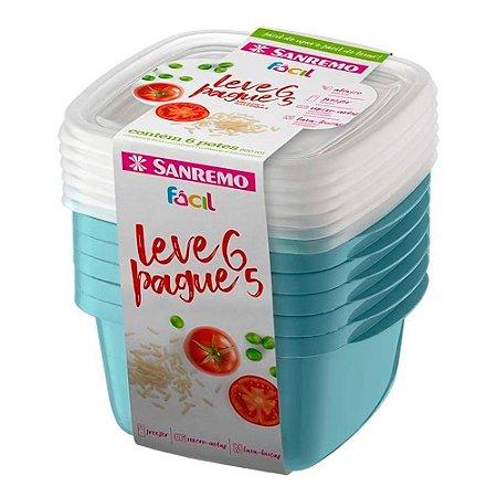 Conjunto De Potes Sanremo 800ml Leve 6 Pague 5 Azul