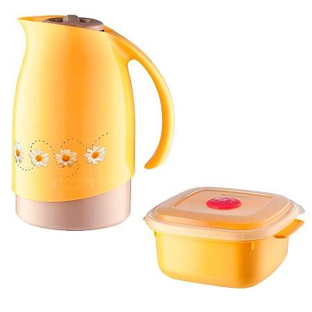 Conjunto Bule Termico Sanremo Decorado Amarelo Com Pote