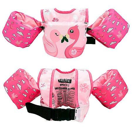 Colete Salva Vidas Infantil Boia Braço Flamingo Rosa Prolife