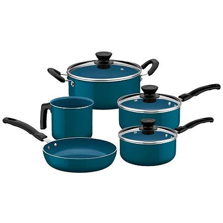 Jogo de Panelas Tramontina Evora Ceramica Azul 5 Peças