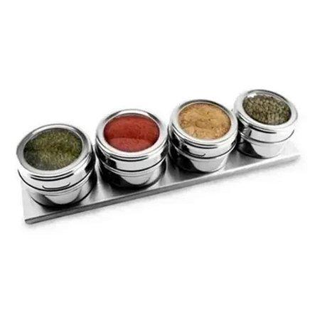 Porta Condimentos Temperos Inox Magnético Jogo Com 4 Potes
