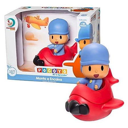 Boneco Pocoyo Com Avião Monta e Encaixa - Cardoso Toys