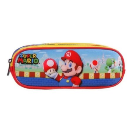 Estojo Soft Triplo Super Mario Escolar Infantil Dmw 11738