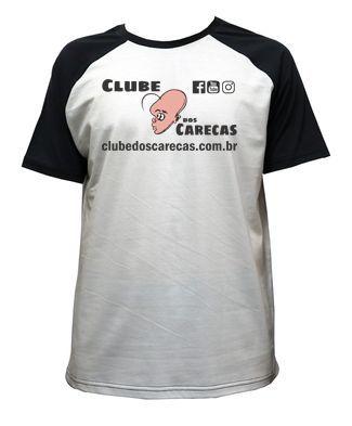 Camiseta Branca Mangas Pretas Clube dos Carecas Retrô