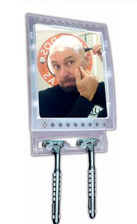 Espelho Antiembaçante Box Raspar a cabeça e barba no Banho Com Suporte