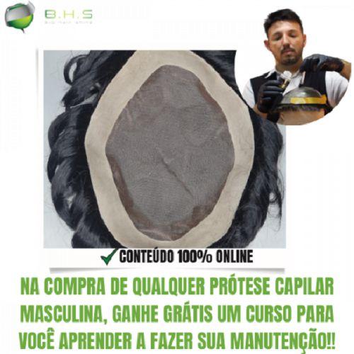 Prótese Capilar Fine Mono (15X22,5 cm) #1B Castanho Escuro + Curso de Auto Manutenção Grátis