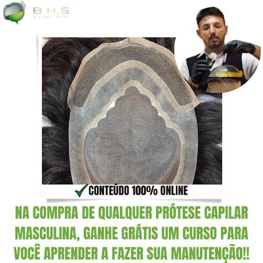 Prótese Capilar Parcial Apollo Hibrida  ( 15 x 20 cm ) #1B Castanho Escuro + Curso de Auto Manutenção Grátis
