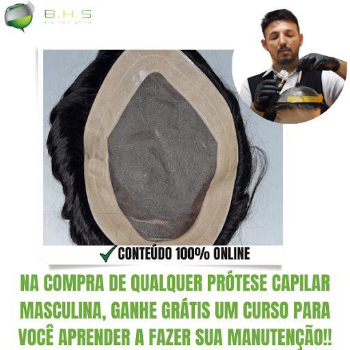 Prótese Capilar Mono Echo (17,5x22,5 cm) #1B Castanho Escuro + Curso de Auto Manutenção Grátis