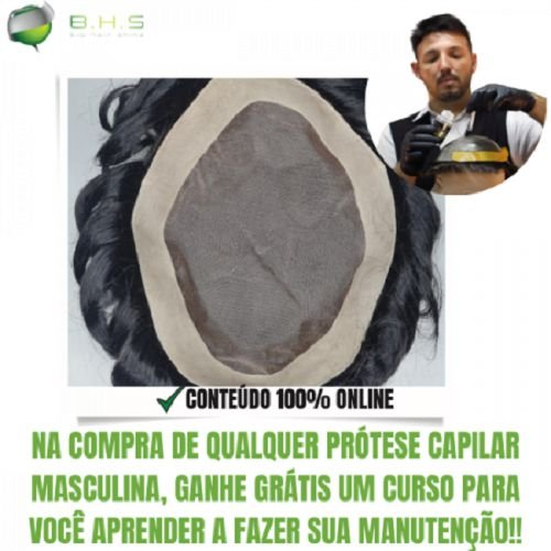 Prótese Capilar Fine Mono (15 x 20 cm) #1B Castanho Escuro + Curso de Auto Manutenção Grátis