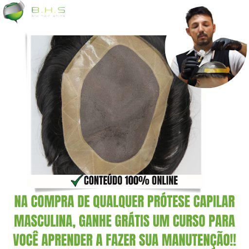 Prótese Capilar Mono Duro com Corte Pronta para o Uso (17,5 x 22,5 cm) #1B Castanho Escuro + Curso de Auto Manutenção Grátis