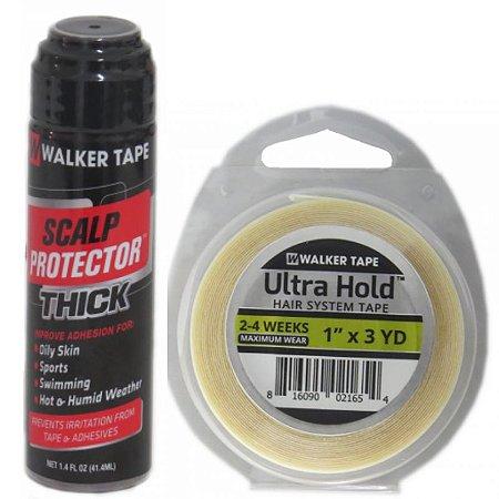 Kit De Manutenção Scalp Protector Thick 41ml, Fita Adesiva Ultra Hold 3Yards x 2,5cm
