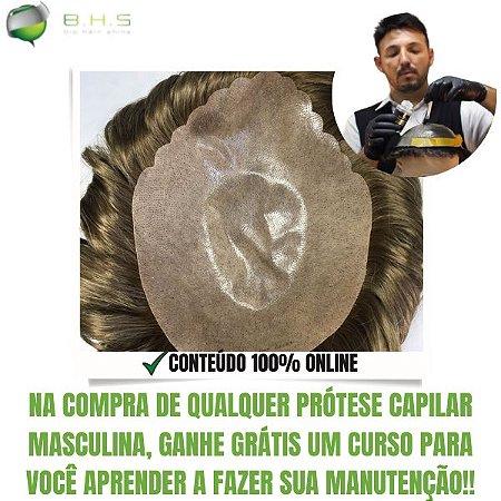 Prótese Capilar Skin (20 x 25 cm) #17 Loiro Médio + Curso de Auto Manutenção Grátis