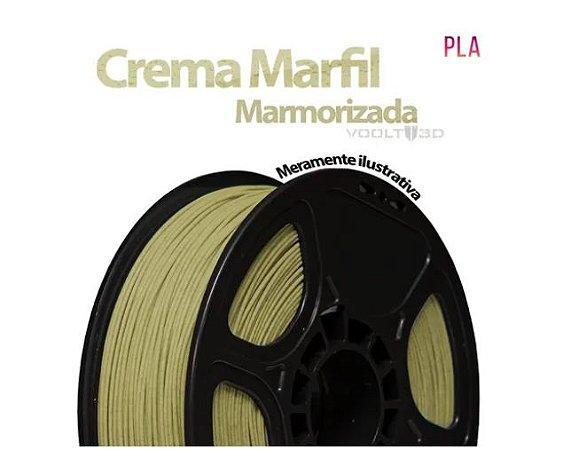 AMOSTRA FILAMENTO VOOLT PLA MARMORIZADA CREMA MARFIL 80GR