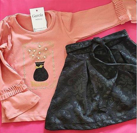 Camisa e saia infantil - TAM: 3 - Rosa e Preto
