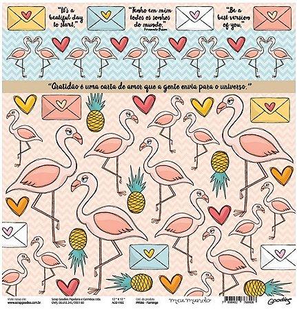 Papel para scrapbook - 30x30 Flamingo - Linha Meu mundo - Goodies