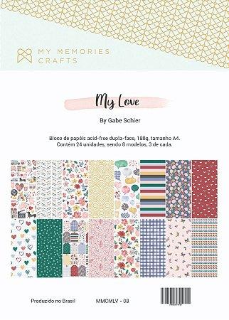 Bloco de papéis A4 - My Love - My Memories Crafts