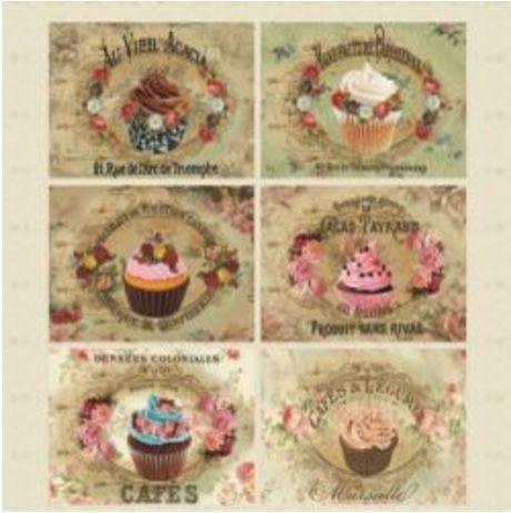 Papel para scrapbook - 30x30 Tags Cupcake - Arte Fácil