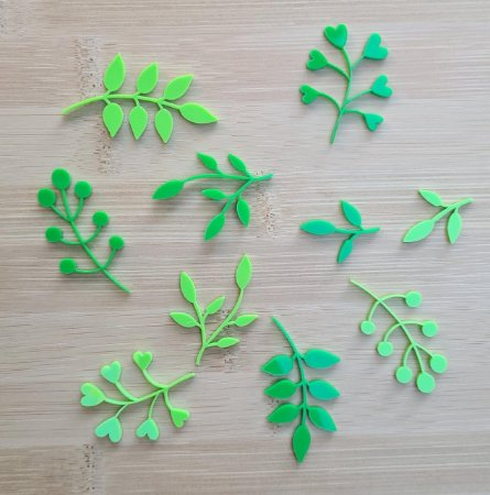 Apliques de acrílico Ramos verdes - My Scrap Supplies