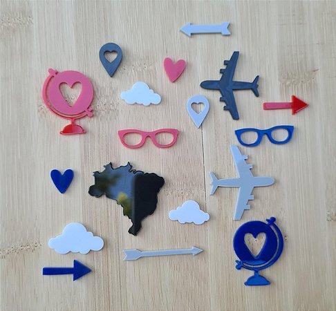 Apliques de acrílico Viagem Azul e vermelho - My Scrap Supplies