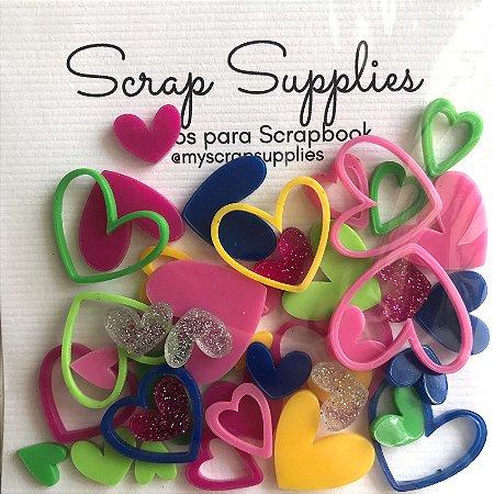 Apliques de acrílico Coração Color - My Scrap Supplies