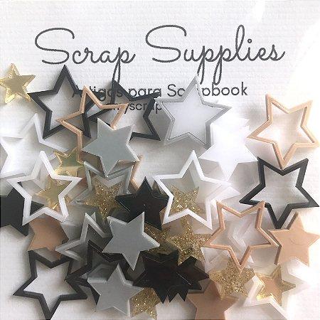 Apliques de acrílico Estrelinhas Neutrals - My Scrap Supplies