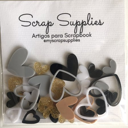 Apliques de acrílico Corações Neutrals - My Scrap Supplies