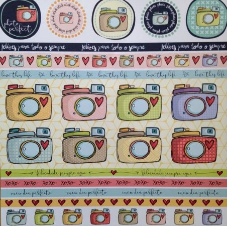 Papel para scrapbook - 30x30 Clicks & Heart - Linha All Hearted - Goodies