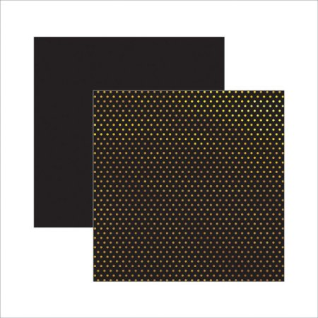 Papel Scrapbook - Poá preto e dourado com foil - Toke e Crie