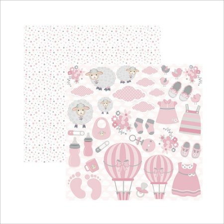 Papel para scrapbook - Mini Básico Bebê Menina Recortes - Toke e Crie