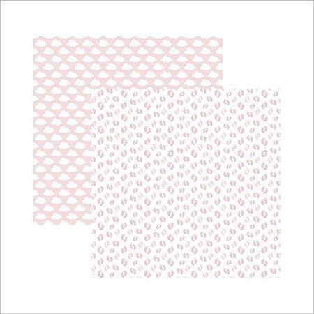 Papel para scrapbook - Mini Básico Bebê Menina Pezinhos - Toke e Crie