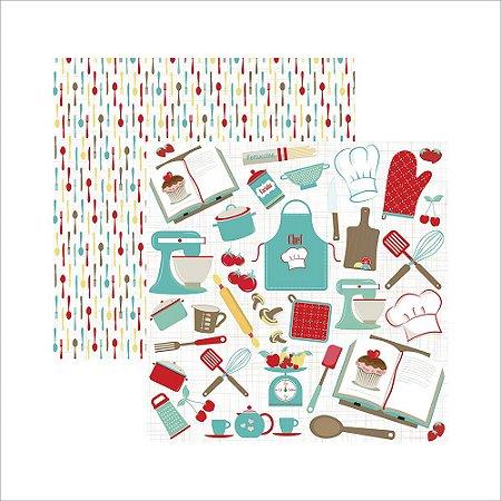 Papel para scrapbook - Mini Básico Cozinha Recortes - Toke e Crie