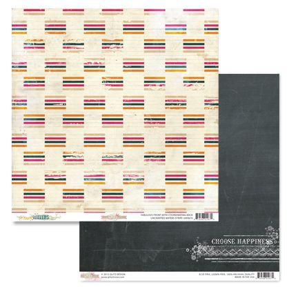 Papel Scrapbook - Uncharted Waters Stripe - Glitz