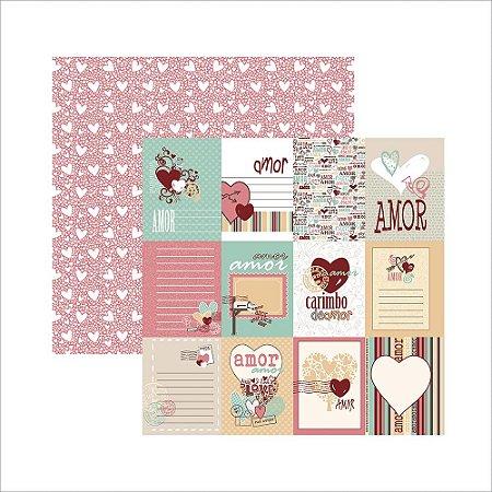 Papel para scrapbook - O Amor está no ar Cartões- TEC