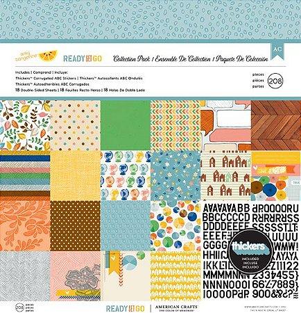 Kit Papel Scrapbook e Adesivos- Ready Set Go - American Crafts