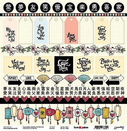 Papel de scrapbook Kanji - Love Japan - Goodies